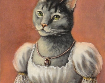"""Cat Art- """"Emma"""" - Oil Painting by Olivia Beaumont"""