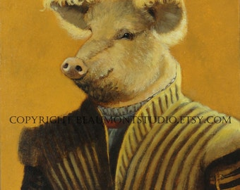 "Pig art - ""The Historian"" - Oil Painting by Olivia Beaumont"