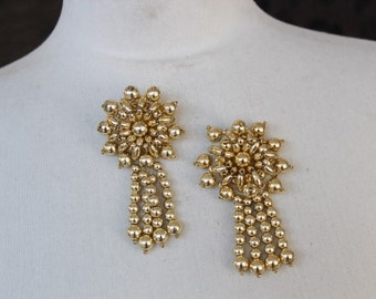 Cute embroidered   and beaded  applique gold  color 2 pieces listing