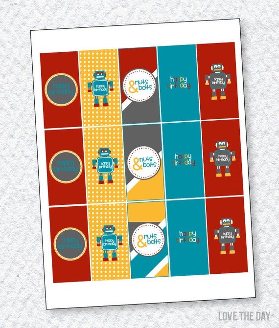 Robot Party PRINTABLE Candy Bar Wrappers by Love The Day