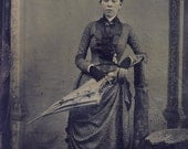Beautifully Dressed VICTORIAN Woman with FINGERLESS Gloves Holding a PARASOL Tintype Photo Circa 1880