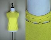 60s Yellow Tank Top / 70s Rhinestone Collar Shirt / Sleeveless High Collar Top / Bucaroni Stretch Zig Zag S M