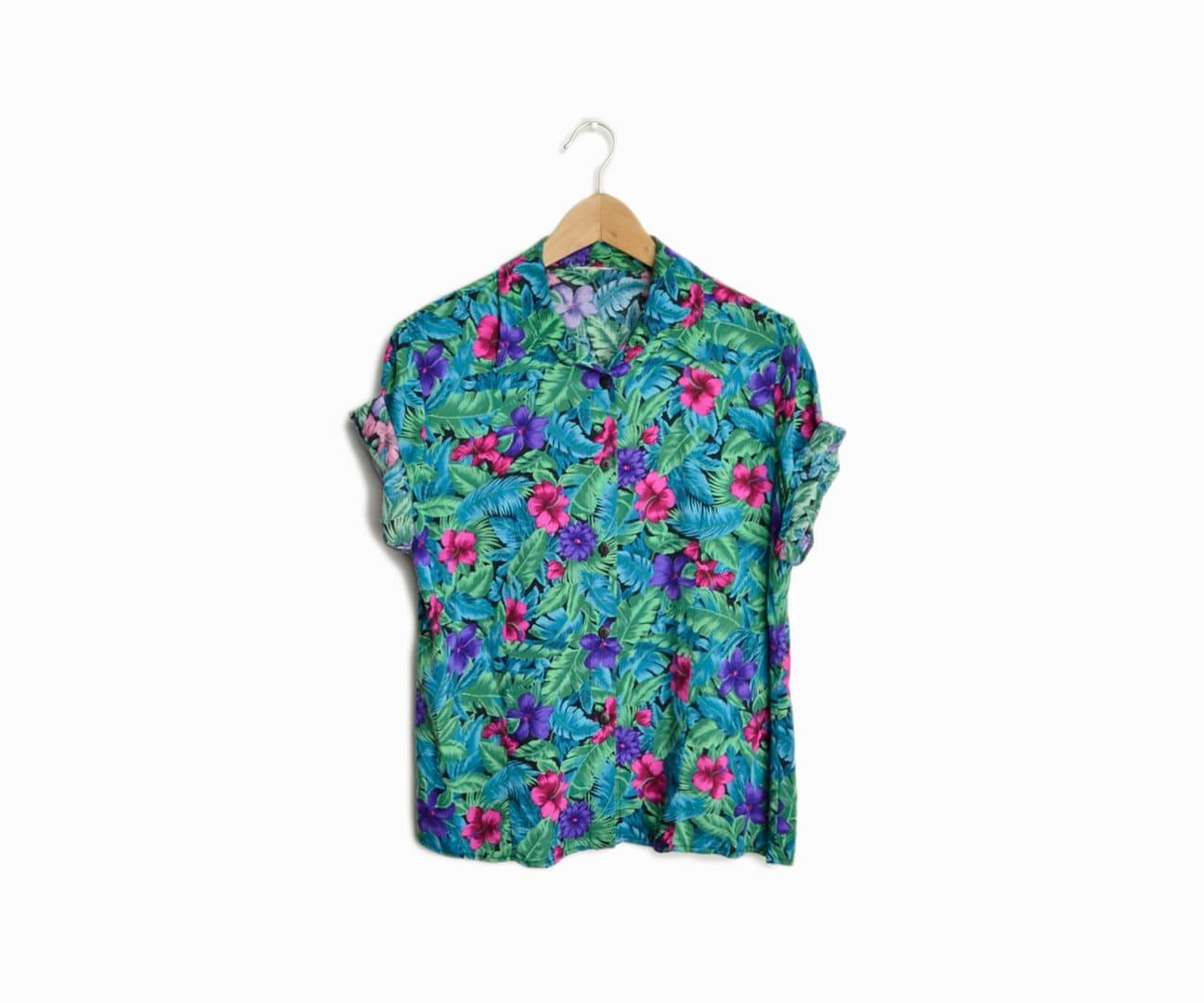 Vintage 90s hawaiian print summer shirt in for Lsu hawaiian print shirts