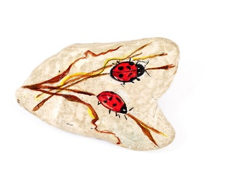 LADYBUG BROOCH JEWELRY Vintage Pin Broach Handmade Painted Art Signed Karen Insect Bug Red Drawing Illustration Unique Gift Party Natural