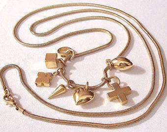Charms Necklace Gold Tone Vintage Cobra Link Chain Seven Dangling Pendant