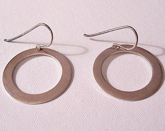 Plain Flat Disc Hoops Pierced Wire Earrings Silver Tone Vintage Large Wide Band Round Open Polished Smooth Big Long Dangles
