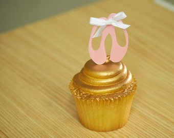 Ballerina Cupcake Toppers.  Handcrafted in 2-3 Business Days.  Ballerina Party Decorations.  Ballet Slippers  12CT.