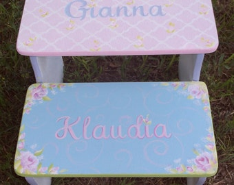 Pink and Aqua, Wooden Kids Steps & Stools, Shabby Roses, Damask PINK, Bench, Kids Furniture, Bathroom Stool, Personalized FREE