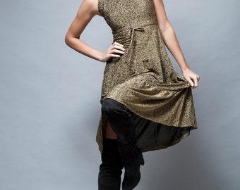 vintage 80s gold dress lurex metallic tank tiered skrit midi S - Small