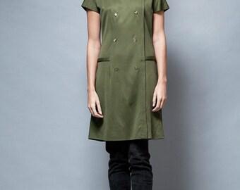 SALE vintage 1960's MOD dress olive green bow short sleeves M L - Medium Large