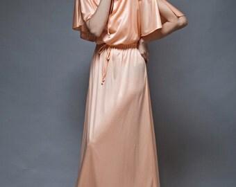 vintage 70s boho hostess maxi dress peach slinky cascading drape M L