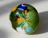 Authentic Murano glass - glassblower waste - multicolor millefiori ring - upcycled