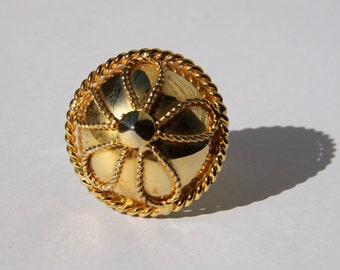 Yvonne ring - large domed goldtone ring - upcycled repurposed vintage earring