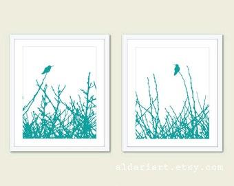 Hummingbirds and Branches Print Set - Teal Blue - Minimalist Birds Wall Art - Woodland - Spring Summer Home Bird on Twig Decor