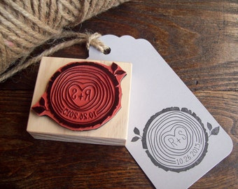 Wood Slice Stamp with Initials and Date - Rustic Woodsy Wedding Tree Rings Save the Dates