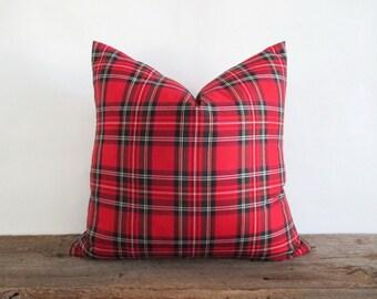 Pillow Cover Royal Stewart Red Tartan Plaid Zipper Opening