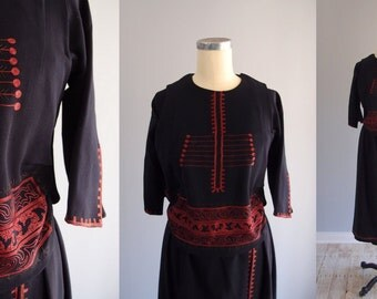 1910s-20s Navy Blue embroidered Dress / Wool & Silk Edwardian Art Deco Folk Art Peasant Dress