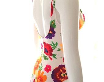 Cole of California vintage swimsuit high cut Tropical Flower underwire Bathing Suit ...size 6D