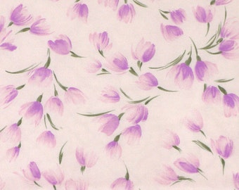 Print Fashion Fabric, Pink Tulips or Crocus, Green Leaves, Lightweight Polyester, half yard, 4-oz, B3