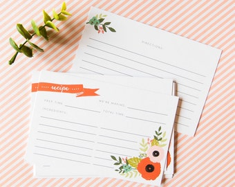 Floral blossom recipe cards - double sided - 4x6, set of 12