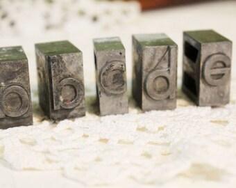 Lower Case Metal Print Press Letters, Letter Press, a,b,c,d,e