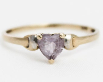 Vintage 9ct Yellow Gold Amethyst Heart Solitaire Ring 9k 9kt 375 Carat - Size P / 7.75