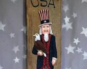 """Bald Eagle Bearing Uncle Sam, hand painted barnwood, Fourth of July, large, 5 1/4"""" X 16 1/4"""""""