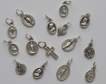 15 Pieces of Assorted Patron Saint Medals, Dove, Cross, Silver Color Oxidized Metal, Small Bracelet Size, One Inch, Mixed Sizes, RO203