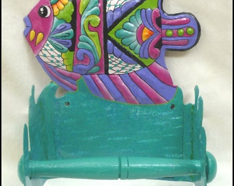 Toilet Paper Holder, Hand Painted Metal Tropical Fish, Tropical Bathroom Decor, Bathroom Accessories, Metal Art - M800-PK -TP