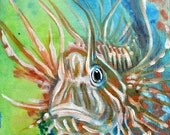 Little Lionfish artwork 6x6 inch Acrylic Painting