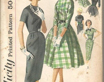 1950s Sheath or Full Skirt Dress Round Neck Kimono Sleeves Collar Variations Simplicity 2646 Uncut FF Bust 38 Women's Vintage Sewing Pattern