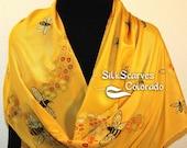 Yellow, Honey Gold Hand Painted Silk Shawl Honey Bee, in 2 SIZES. Silk Scarves Colorado. Elegant Silk Scarf, Birthday, Anniversary Gift