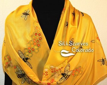 Yellow, Honey Gold Hand Painted Silk Shawl Honey Bee, in 2 SIZES. Silk Scarves Colorado. Elegant Silk Scarf, Birthday, Anniversary Gift