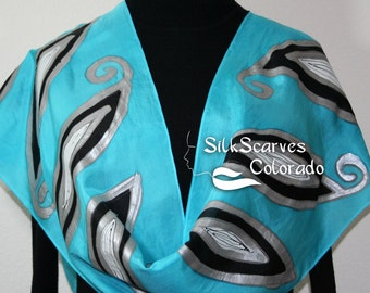 Blue Hand Painted Silk Scarf. Turquoise & Silver Handmade Scarf SILVER DREAMS. Silk Scarves Colorado. 100% silk. Offered in Several SIZES.