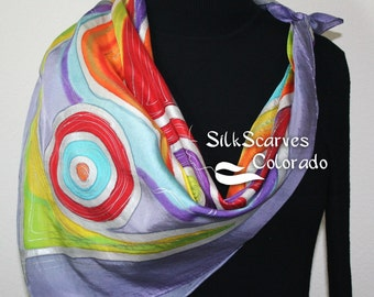 Silk Scarf Hand Painted. Purple, Lime, Orange Handpainted Silk Shawl BOHEMIAN DANCE. Silk Scarves Colorado. Square 35x35. Wedding Gift