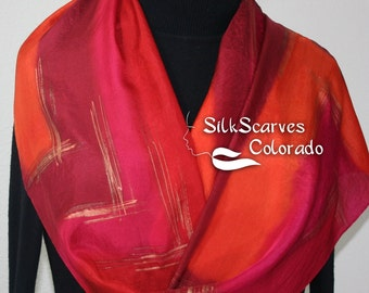 Silk Scarf Hand Painted. Red, Burgundy, Orange Handpainted Silk Shawl RED BURST Size 11x60 Silk Scarves Colorado Birthday Gift. Gift-Wrapped