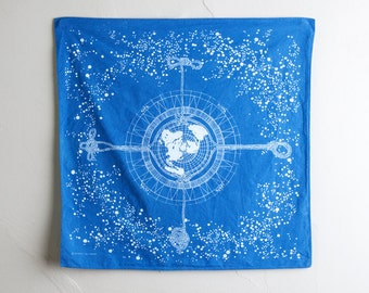 Celestial Navigation Bandana - natural indigo-dyed screen printed