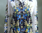 """Vintage Hamilton """"8"""" Dallas Long Sleeved Off White Blouse with Floral Print Bust 40"""" Waist 38"""""""