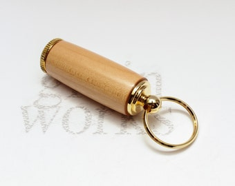 Wood Deluxe Pill Holder Key Chain - Sugar Maple with 10K Gold Accents (Gift Ready)