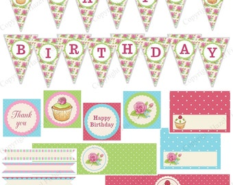 Cupcakes and Roses Small Party Set - printable birthday party package; bunting, party circles, straw flags, name place card Instant Download