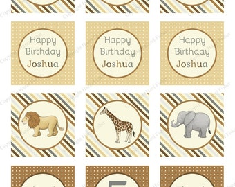 Safari Animals cupcake toppers - Customised printable 2 inch party circles, lion, elephant, giraffe, zebra, rhino, digital sheet - CT026