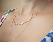 Gold Double Layer Four-Leaf Clover Necklace - Freshwater Pearls, Dainty Feminine, 14K Gold Filled Chain, Unique Design, Layer Necklace
