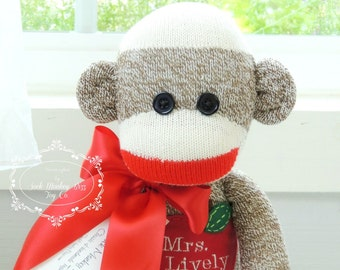 Personalized Teacher Appreciation Sock Monkey Doll, Teacher's Gift