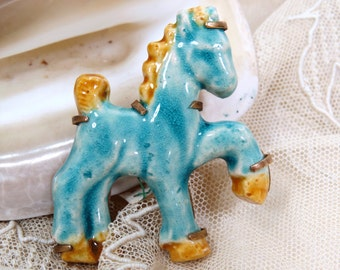 Vintage Doliet Ceramic Turquoise Blue Horse Brooch, Paris France, Art Deco, Signed, RARE Pony Pin