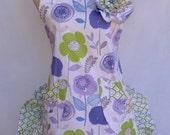 Women's Apron, Ruffled Shorty Style, Retro, Purple, Lavender, Floral Apron, Ruffled Bottom
