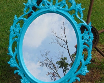 Shabby Chic, Nursery Mirror, Aqua Mirror, Oval Mirror,Large Mirror,Size 33 1/2 x 23 1/2, Choose Color and Finish