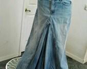 Vintage ballroom jean skirt high waisted Renaissance Denim Couture fairy goddess mermaid belle bohémienne