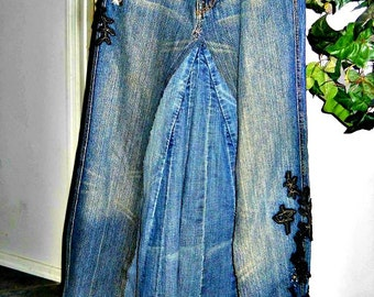Seven for All Mankind vintage ballroom embellished jean skirt Renaissance Denim Couture fairy goddess China Wall mermaid