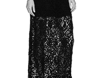 Floor length black lace high waist maxi skirt, high quality tailor made, Custom order High fashion ,plus size