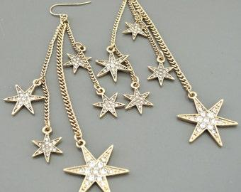 Statement Earrings - Gold Earrings - Boho Earrings Festival Earrings - Star Earrings - Long Chain Earrings - handmade jewelry